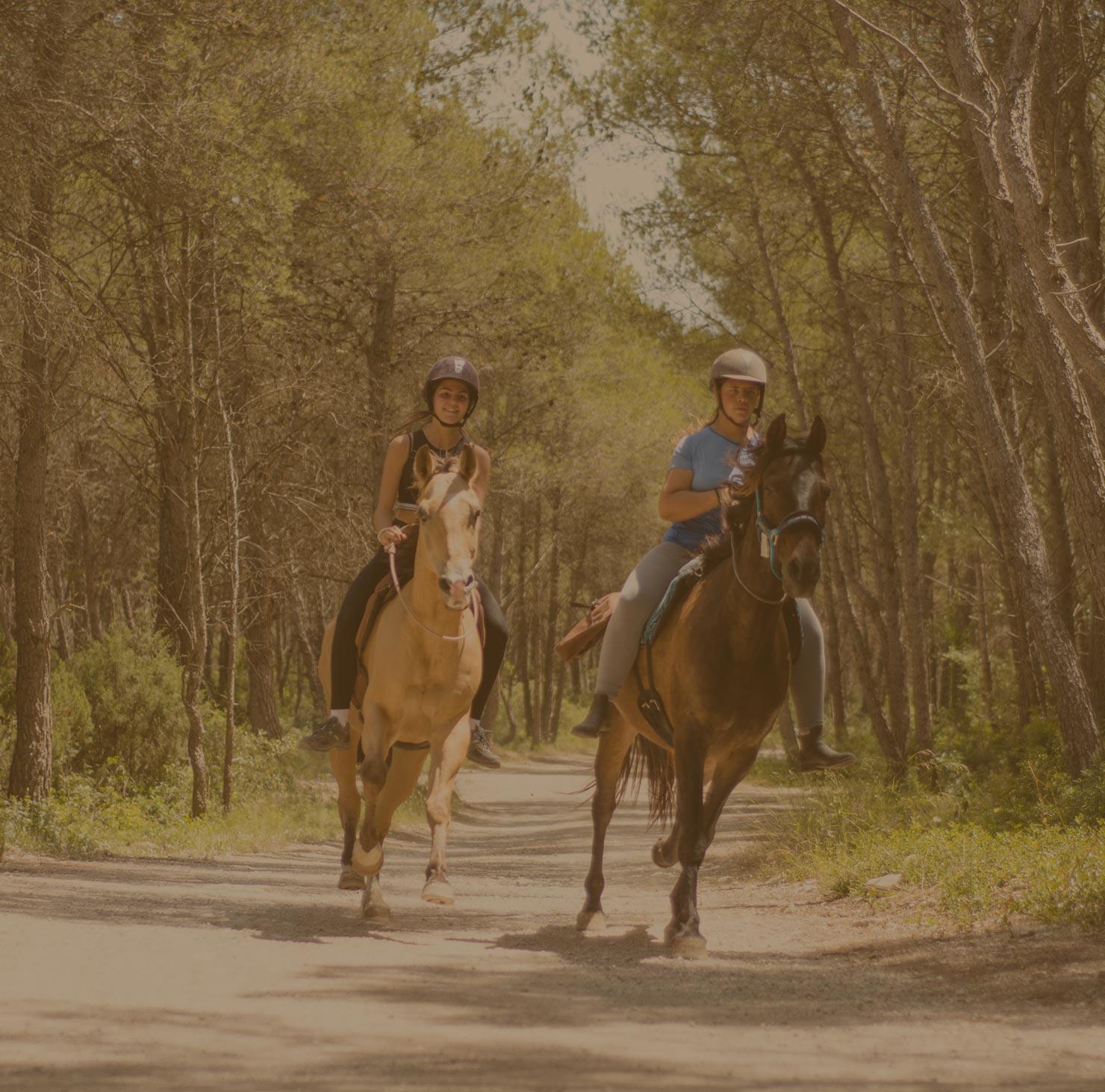 Rutas a caballo en Sitges Vilanova y Canyelles